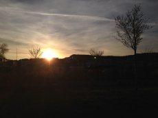 Jeudi 9 avril 2015 : couché de soleil en allant à la piscine
