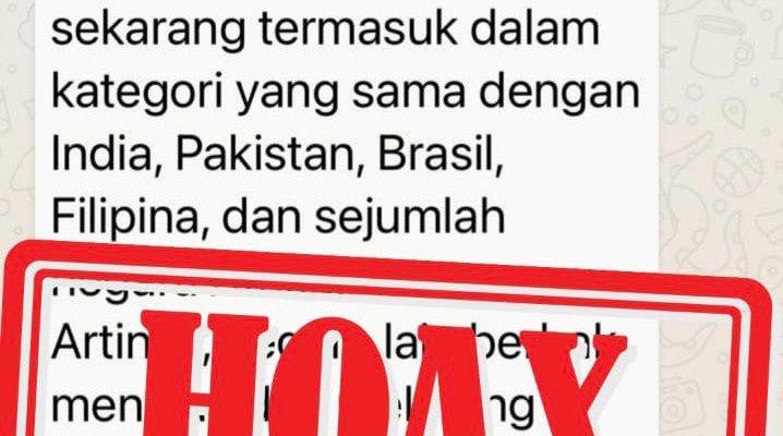 Beredar Indonesia Masuk Kategori A1 High Risk dari WHO, Ini Tanggapan Kemenkes