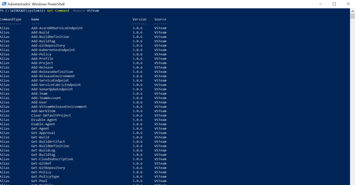 Administrando seu Visual Studio Team Services via PowerShell