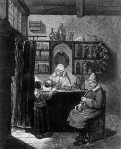 Mädchen kauft Medizin in einer Apotheke bei altem Apothekerpaar