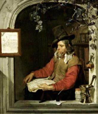Gemälde: Apotheker sitzt im Fensterbogen und denkt nach