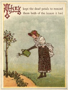 alte Buchillustration: Frau gießt Bäumchen