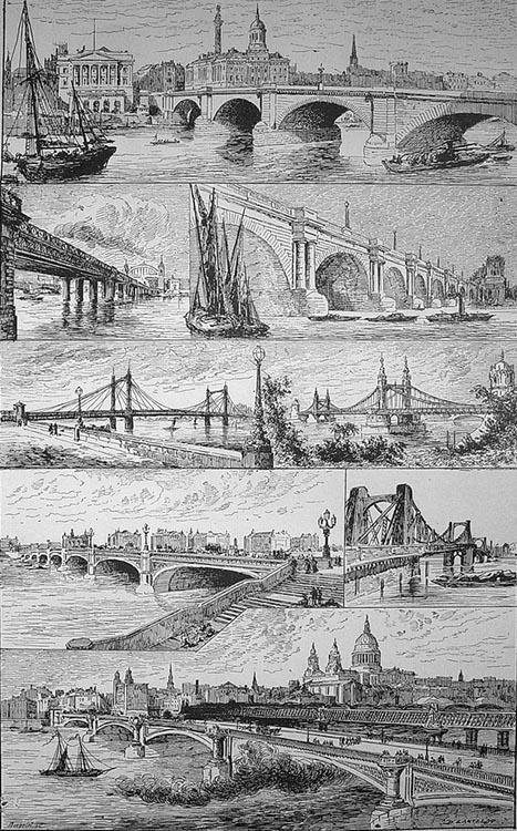 sw-Zeichnung: verschiedene Brückenkonstruktionen
