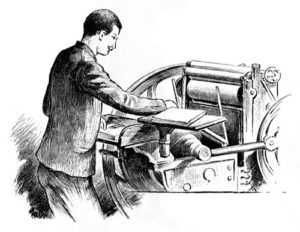 Buchdrucker, Druckerpresse