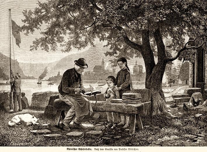 Schieferdecker sitzt auf einer Bank und arbeitet an Ziegel. Kinder schauen zu.