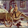 Sammelbild: Eishändler laden Eisblöcke auf einen Wagen