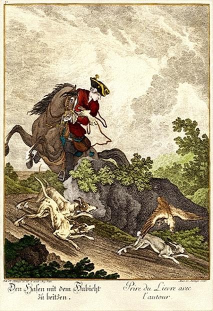 kolorierter Stich: Hasenjagd zu Pferd mit Habicht
