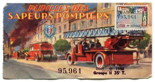 Lotterieschein mit Feuerwehrfahrzeugen