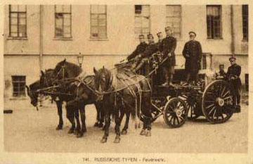 altes Foto: Feuwerwehr mit Pferdegespann