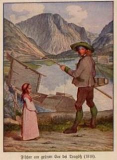 Fischer und Mädchen am See