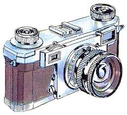 Zeichnung: italienische Kamera von 1960