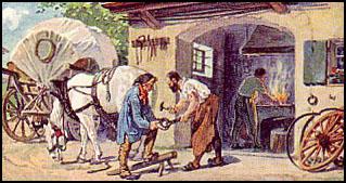Farbbild: Hufschmied beschlägt Pferd vor dem Schmiedentor