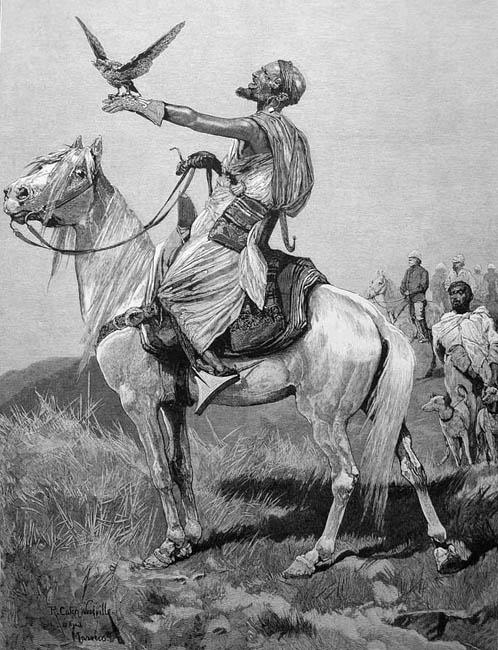 sw-Zeichnung: Falkner zu Pferd