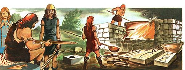 farbige Illustration: Bronzegießer vor langer Zeit bei der Arbeit