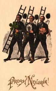 drei Schornsteinfeger mit Leitern, Hufeisen, Kleeblatt, Ferkel