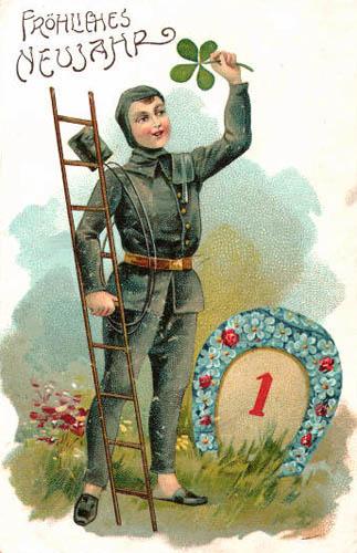 Schornsteinfeger mit Leiter als Glücksbringer