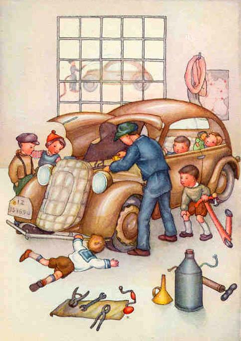 Illustration für Kinder: Automechaniker repariert Auto und Kinder sehen zu
