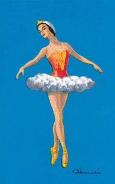 Spielkarte: Balletttänzerin im Tutu macht Spitzentanz