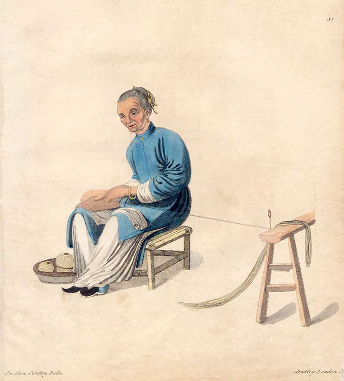 alte Zeichnung: Chinesin dreht Baumwolle