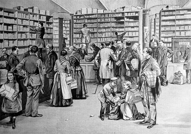 sw-Zeichnung: Andrang in einer Buchhandlung