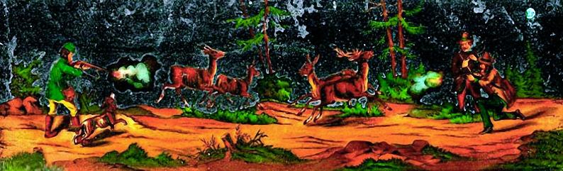 Jagdszene auf Glasbild