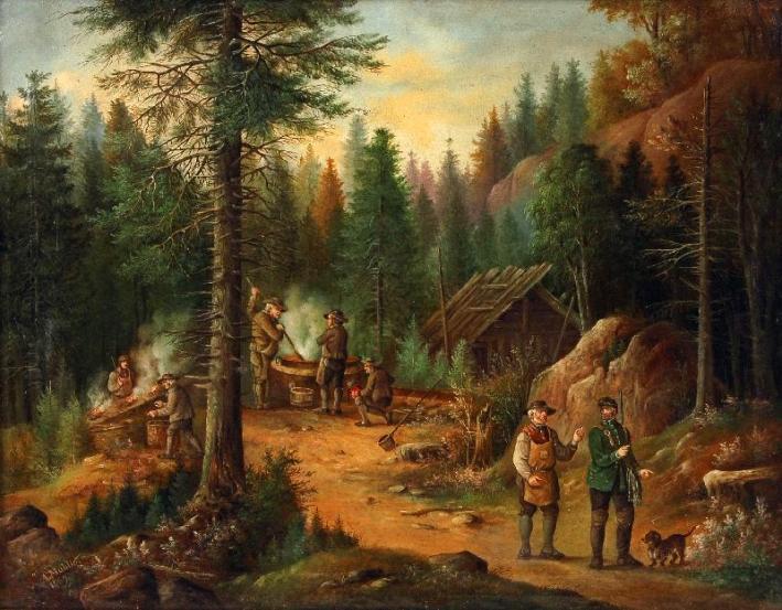 Gemälde: Köhler im Wald