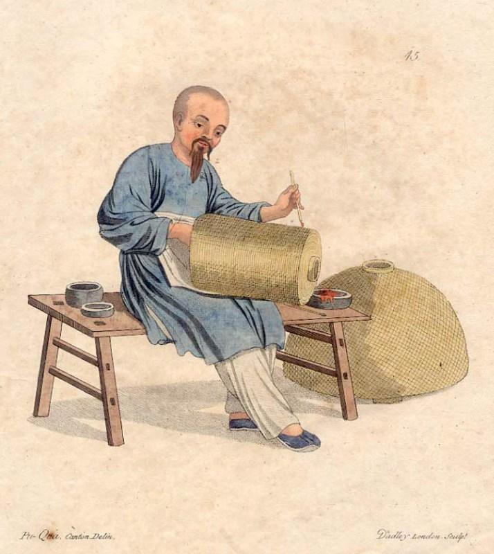 Zeichnung: chinesischer Laternenmaler malt Laterne an