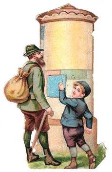 Oblate: Wandersmann und Kind lesen Neuigkeiten an der Litfaßsäule
