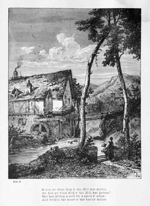 alte sw-Illustration: eine Mühle mit englischem Text