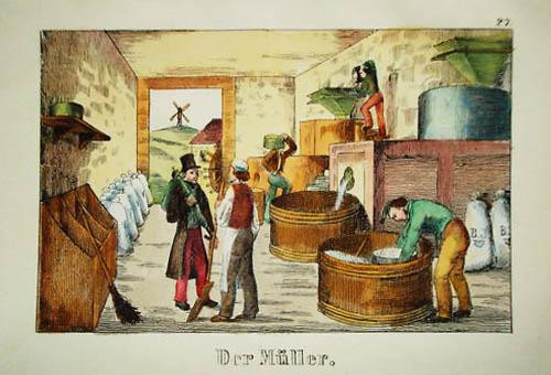 Die Arbeit der Müller in der Getreidemühle.