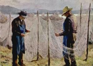 Gemälde: zwei Netzflicker arbeiten stehend zwischen am Seeufer aufgespannten Netzen