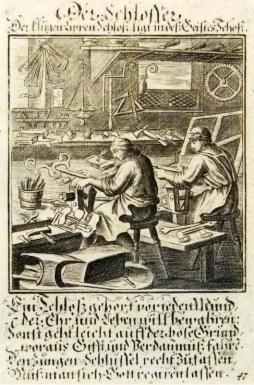 Schlosser, mit Text
