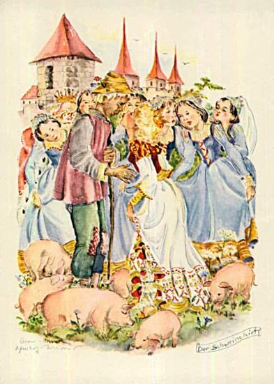 Märchenabbildung: Prinzessin küsst Schweinehirt