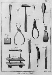 sw-Abb.: Spiegelproduktion: Werkzeuge der Spiegelmacher
