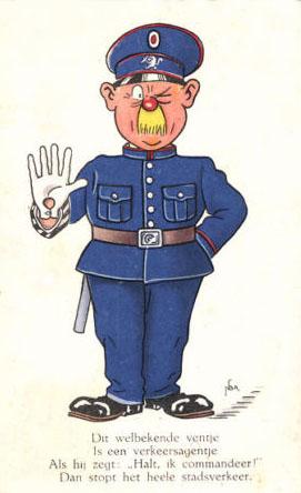 Verkehrspolizist mit Text