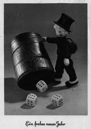 Figur: Kaminfeger als Glücksbringer mit Würfelbecher