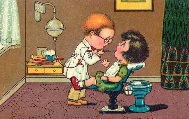 lustige Karte: beim Zahnarzt