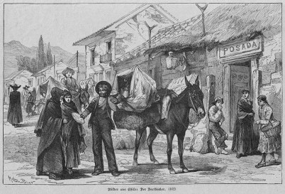 Händler kommt mit einem mit Brot beladenen Maultier ins Dorf und bietet es den Bewohner feil