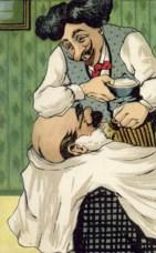 farbigeLitho; gestylter Barbier seift Kunden ein