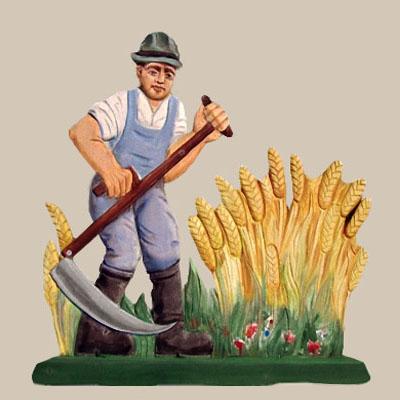 Bauer, Sense, Getreide mähen, Getreidemaat, Holzschnitzarbeit