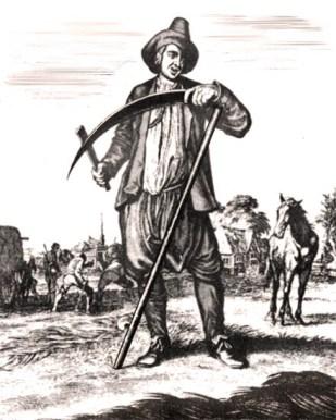 alter Stich: Heuernte, im Vordergrund stehender Bauer beim Senseschärfen