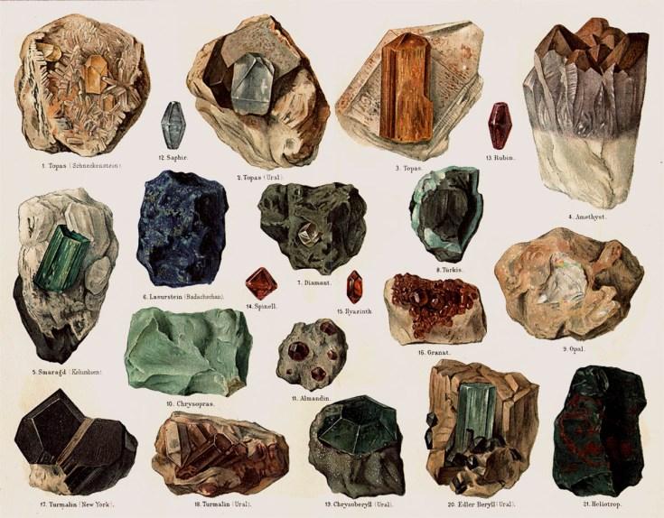 alte farbige Darstellung von Rohedelsteinen