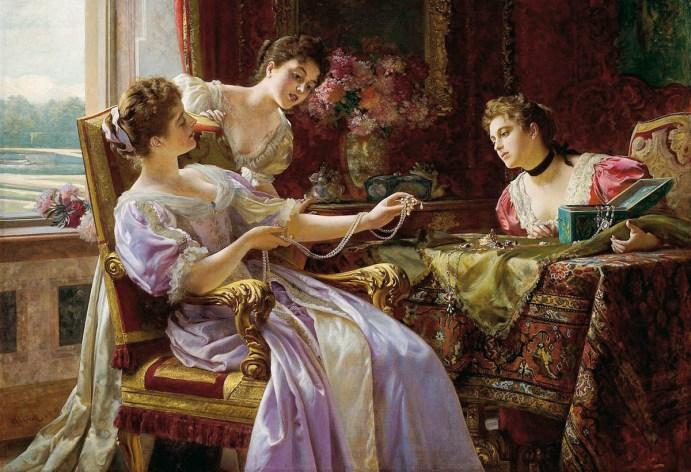 Ölbild: Drei vornehme Damen begutachten 'Das Schatzkästchen' voller Perlenketten und Schmuckstücke