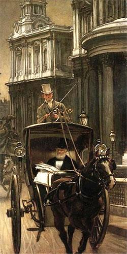 Ölbild: Kutscher lenkt einen Buggy hinten stehend bei Sonnenaufgang durch die Stadt. Herr in Frack und Zylinder liest Zeitung.