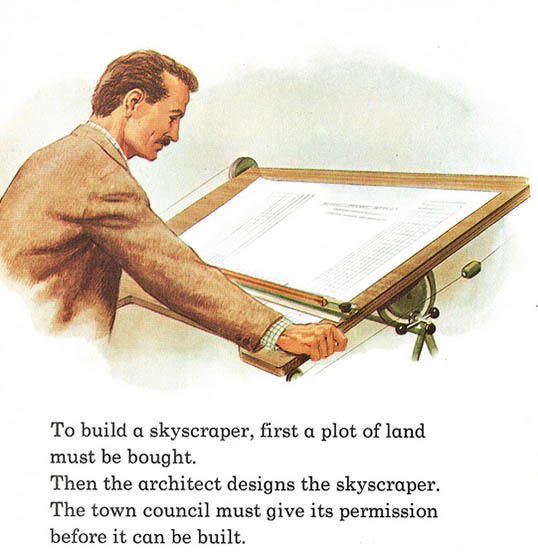 Architekt, Planung, Hochhaus, Reißbrett