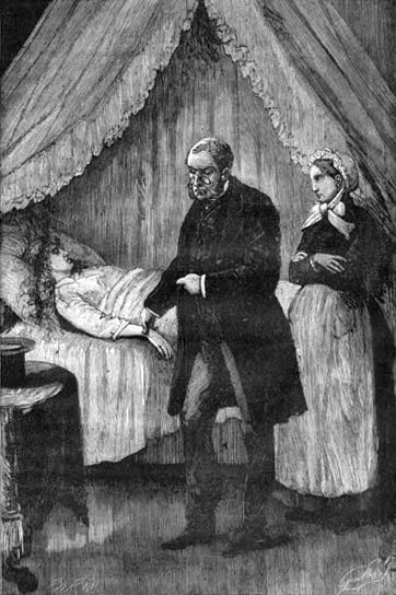 Arzt misst Puls bei kranker im Bett liegender Frau