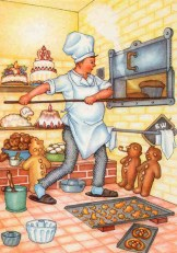 farbige Illu: Bäcker schiebt Backwaren in den Backofen