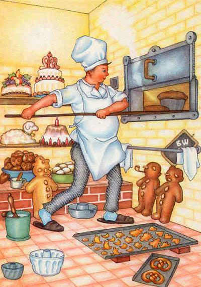 Bäcker, Bäckerei, Backstube, Backofen