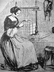 sw-Zeichnung: Frau heftet Seiten