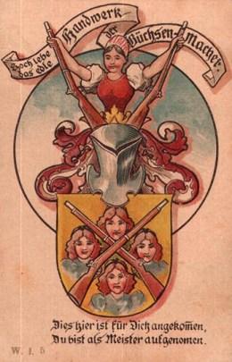 Farbdruck: Gewehre, Wappen +Text
